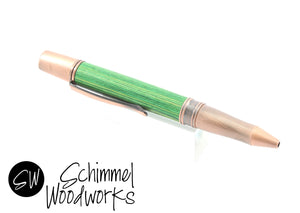Handmade Schimmel Pen - Green Laminated Wood Pen paired with antique copper metal accents - Comes in gift box