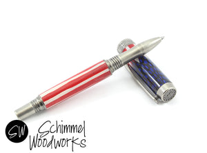 Handmade Schimmel Rollerball Pen - Patriotic Red White and Blue Feathers with Antique Pewter metal. We the People pen. Comes in gift box