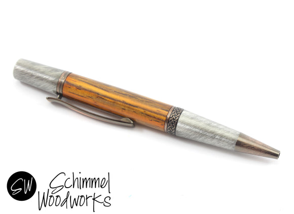 Handmade Schimmel Ballpoint Pen -Antique metal plating paired with Cocobolo wood body -Celtic knot centerband-Comes in gift box!