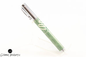 Handmade Schimmel Rollerball Pen - Magnetic Cap - Vintage 100 Shares with Chrome Metal Accents - Comes in gift box