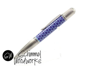 Handmade Schimmel Pen -  Antique Silver Ballpoint Pen with Blue pearl resin honeycomb  - Comes in gift box