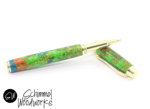 Handmade Schimmel Rollerball Pen - Blue, Green & Orange Pearl with Gold Metal Accents - Comes in gift box