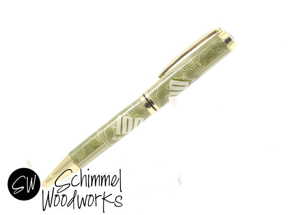 Handmade Schimmel Ballpoint Pen - Vintage Stock / Vintage Bond with Gold accents - 100 Shares - Comes in gift box