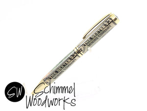 Handmade Schimmel Ballpoint Pen - Vintage Stock / Vintage Bond with Gold accents - The Dexter Mining Co Stock- Comes in gift box