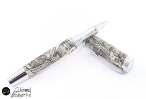 Handmade Schimmel Rollerball Pen -Full Size Gentlemen's Pen -Abraham Lincoln as King of Hearts Pen -Rhodium metal accents -Comes in gift box