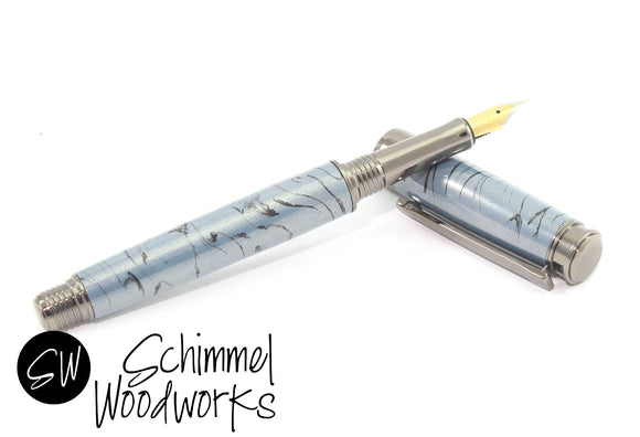 Handmade Schimmel Pen - Made with Metallic Blue & Black swirl - Gun Metal accents  - Comes in gift box