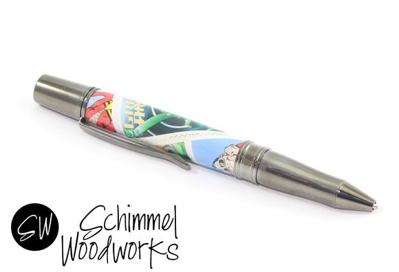 Handmade Schimmel Ballpoint Pen - Green Arrow Stamp - Comic Book Pen - Comes in gift box