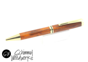 Handmade Schimmel Ballpoint Pen - Gold Gentlemen's Pen paired with beautiful wood - comes in gift box