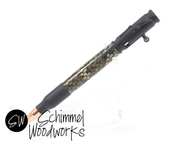 Handmade Schimmel Pen - Bolt Action Bullet Pen - Real Snakeskin - Diamondback Rattle Snake -  Comes in gift box