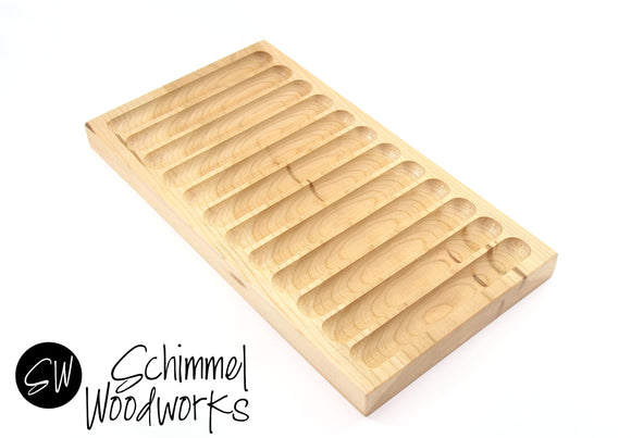 Handmade Schimmel Cherry Wood Pen Display - 12 Pen Tray for Fountain Pen, Rollerball Pen or Ballpoint Pen - Hardwood Pen Tray