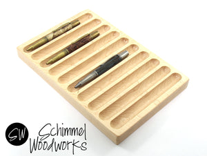 Handmade Schimmel 10 pen Display-  Limited Edition Maple Wood - One of a kind hard wood pen display - 10 Pen Tray - Great Gift!