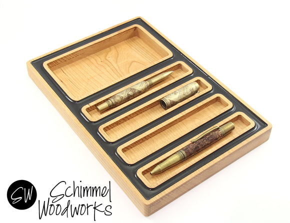 Handmade Schimmel Pen Tray and Desk Organizer - Maple Wood with Black Pearl Acrylic Outline - Fits 4 pens & accessories - One of a kind gift