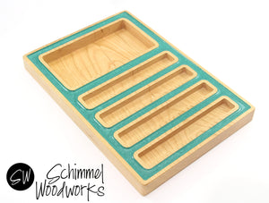 Handmade Schimmel Pen Tray and Desk Organizer - Maple Wood with Teal Pearl Acrylic Outline - Fits 4 pens & accessories - One of a kind gift