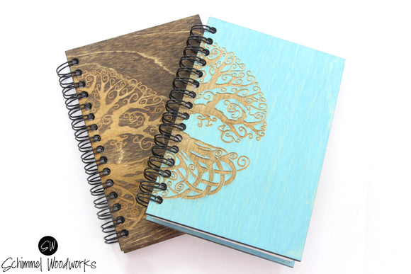 Rustic Handmade Schimmel Spiral Notebook, Engraved on natural stained wood journal, Celtic Tree Notebook, Tree Journal, Teal Journal!