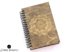 Rustic Handmade Schimmel Spiral Notebook, Engraved on natural stained wood journal, Mandala Notebook, Rustic Journal with mandala engraved