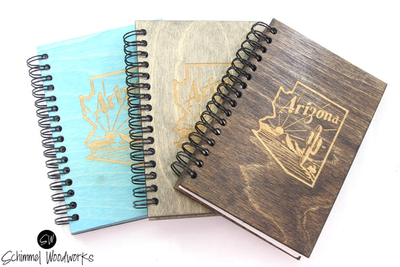 Rustic Handmade Schimmel Spiral Notebook, Engraved on natural stained wood journal, Arizona Notebook, Rustic AZ Journal, Teal Wood journal