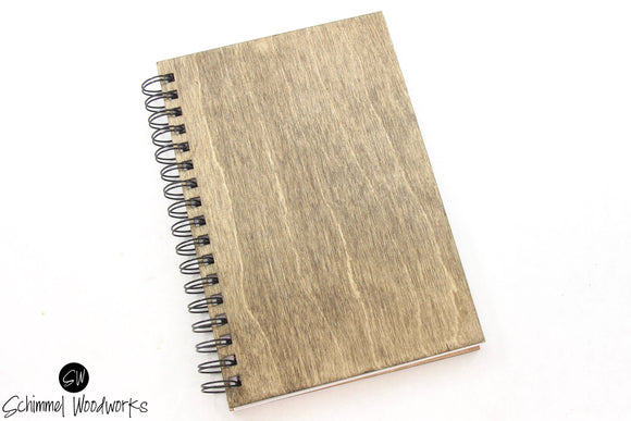 Rustic Handmade Schimmel Spiral Notebook, natural stained wood journal for journaling, to-do lists, bullet journal, travel notes, great gift
