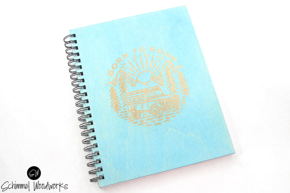 Rustic Handmade Schimmel Spiral Notebook, Engraved on teal stained wood journal, Born to Roam Notebook, Rustic Journal, Travel Notebook