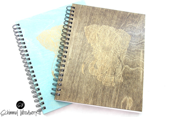 Rustic Handmade Schimmel Spiral Notebook, Engraved on natural stained wood journal,Engraved Elephant, Travel Journal, Sketch Pad for artist