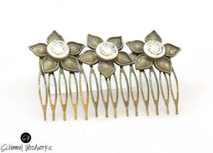 Handmade Schimmel Steampunk Hair Comb - Steampunk Vintage Smiley face hair comb with Antique brass with smiling faces on flowers - Cool hippie vibe - Comes in gift box