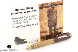 Handmade Schimmel Rollerball Pen - Green Bay Wisconsin Lambeau Field Bleacher wood paired with Antique Brass accents - Comes in gift box