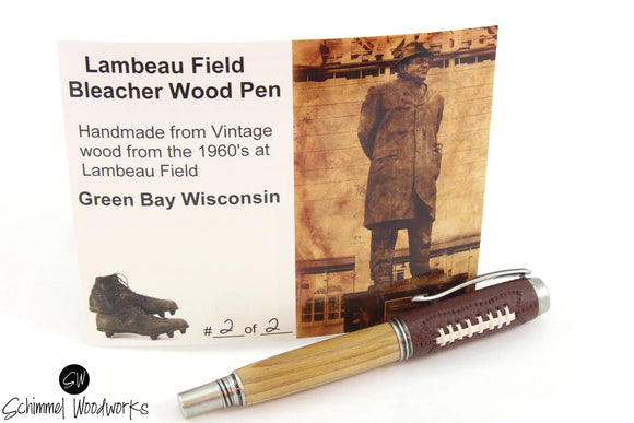 Green Bay Wisconsin Lambeau Field Bleacher wood Pen, Rollerball pen with antiqued silver, real leather feel on cap! Green Bay football fans!