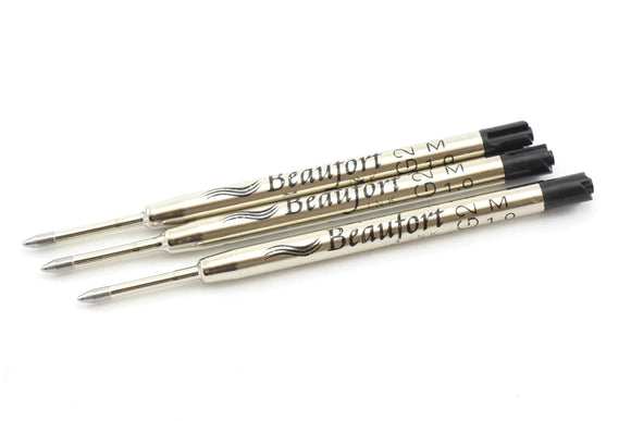 Beaufort Ink Ballpoint Refills - Parker Style Refills - 3 pack Ink in Blue or Black