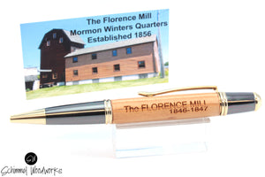 Handmade Schimmel Pen - Historic Wood from The Florence Mill Mormon Winters Quarters, Nebraska, Est 1856 - Gun Metal & Gold Accents - Comes in gift box