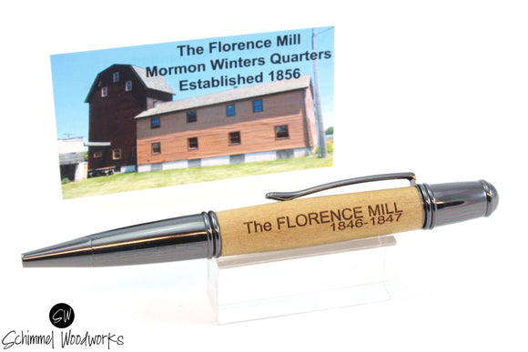 Handmade Schimmel Pen - Historic Wood from The Florence Mill Mormon Winters Quarters, Nebraska, Est 1856 - Gun Metal Accents - Comes in gift box
