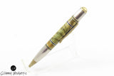 Handmade Schimmel Pen - Dyed Burl Wood Pen paired with antique metal accents - Comes in gift box