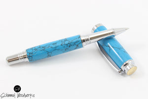 Handmade Schimmel Rollerball Pen -Blue Marble Tru-Stone with Chrome Metal Accents - Comes in gift box