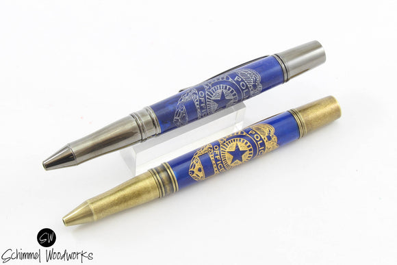 Handmade Schimmel Pen - Engraved Police Department Badge on Rich Blue Resin - Comes in gift box