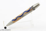 Handmade Schimmel Pen -  Blue River Wood Pen - All Antique Silver Accents - Comes in gift box