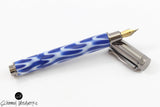 Handmade Schimmel Fountain Pen - Magnetic Cap - Blue & White Swirl with Gun Metal accents - Comes in gift box