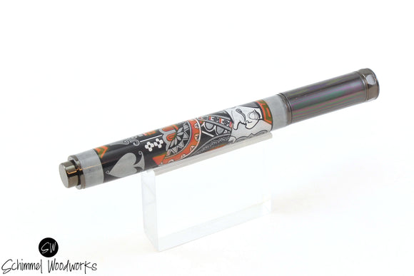 Handmade Schimmel Rollerball Pen - Magnetic Cap - King of Spades playing card - Comes in gift box