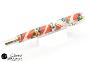 Handmade Schimmel Pen - Rollerball Pen with Retro Wonder Woman Stamp - Comes in gift box