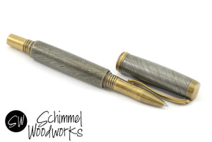 Handmade Schimmel Damascus Steel Rollerball Pen - Real Handmade Damascus Steel Pen - Antique Brass accents - Comes in gift box