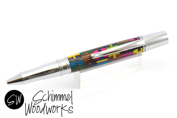 Handmade Schimmel Pen - Multi-colored Dyed wood puzzle pieces with sleek chrome metal details - Comes in gift box