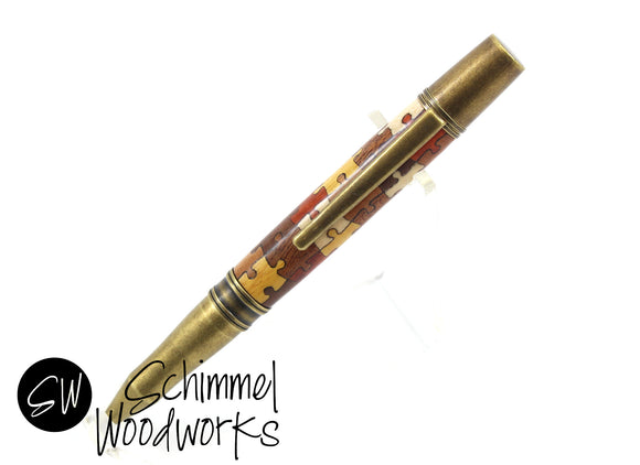 Handmade Schimmel Pen - Multi-colored Natural wood puzzle pieces with Antique Brass metal details - Comes in gift box