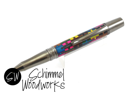 Handmade Schimmel Pen - Multi-colored Dyed wood puzzle pieces with gun metal details - Comes in gift box
