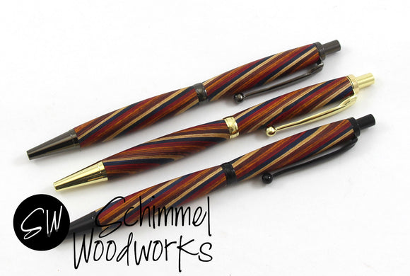 Handmade Schimmel Ballpoint Pen - Colored Wood Spiral with Gold, Black or Gun Metal body - Click pen - Comes in gift box