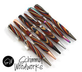 Handmade Schimmel Ballpoint Pen - Colored Wood Spiral with Gun Metal, Copper, Black, Chrome, Antique Gun Metal or Multi-color  body - Click pen - Comes in gift box