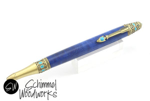 Handmade Schimmel pen - Blue dyed maple burl body with antique brass and southwestern detail - Arrow clip, turquoise details - Southwest pen - Comes in gift box