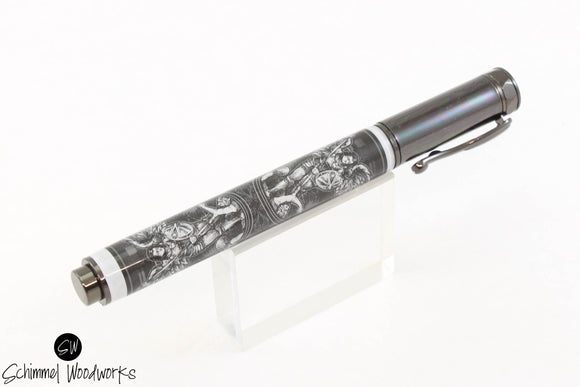 Handmade Schimmel Rollerball Pen - Magnetic Cap - Archangel playing card in black and white - Comes in gift box