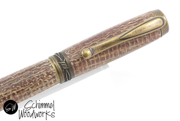 Handmade Schimmel Rollerball Pen - Brown Burlap Cowboy Pen paired with Antique Brass metal accents - Comes in gift box