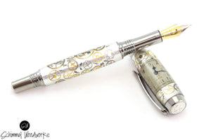 Handmade Schimmel Fountain Pen & Rollerball Pen - Hand Bent Vintage Elgin watch parts on Aluminum with Black Titanium & Rhodium metal plating - Comes in gift box