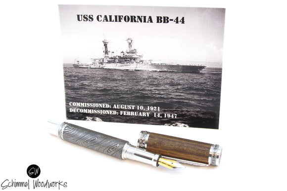 Handmade Schimmel Pen - Real Handmade Damascus Steel fountain pen with Teak deck wood from Historic USS California Wood BB-44 - Comes in gift box