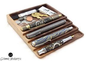 Cherry or Walnut wood Pen tray with Desk Organizer - Fits 4 pens