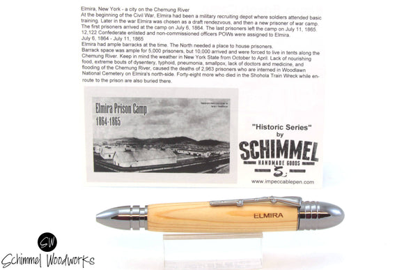 Handmade Schimmel Pen - Civil War Bullets 58 Caliber Minnie Ball and 44 Colt Army with wood from a Real Civil War Camp Elmira - Comes in gift box