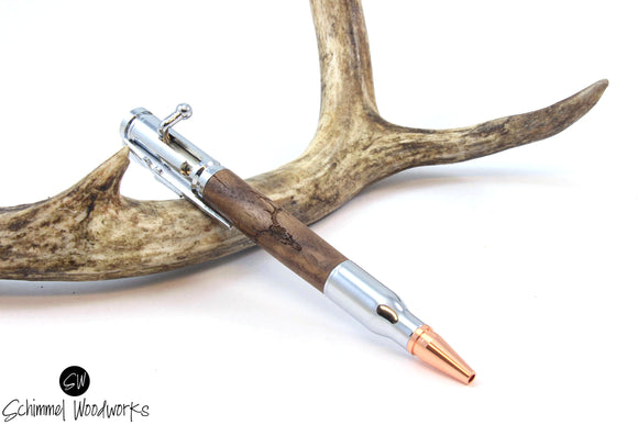 Handmade Schimmel Pen - Bolt Action Bullet Pen - Deer Skull engraved in Walnut Wood - Comes in gift box